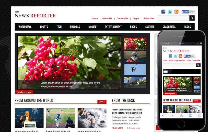 the new reporter a entertainment category flat bootstrap responsive