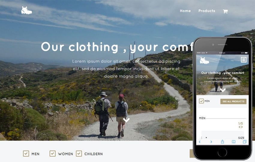 Trekking a Flat Ecommerce Bootstrap Responsive Web Template Mobile website template Free