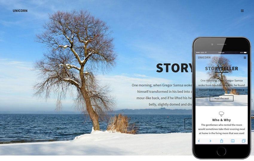 Unicorn a Corporate Business Flat Responsive Web Template Mobile website template Free