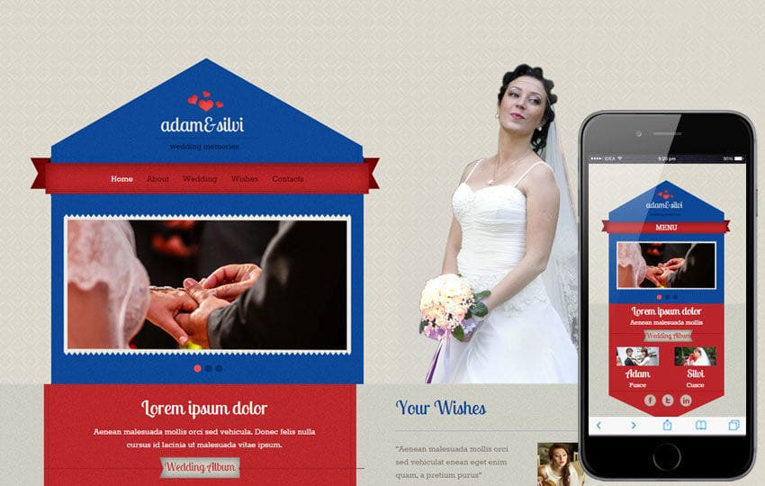 Wedlock a Flat Wedding Planner Bootstrap Responsive Web Template Mobile website template Free