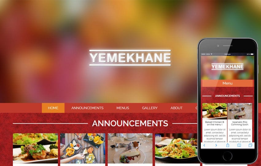 Yemekhane a Food Category Flat Bootstrap Responsive Web Template Mobile website template Free