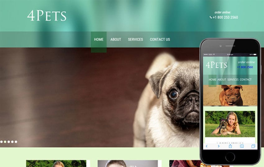 4Pets animals Mobile Website Template Mobile website template Free