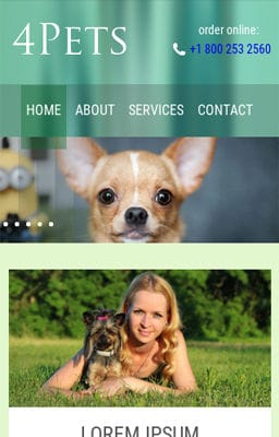 Free Iphone Smartphone web template 4Pets animals Mobile Website Template