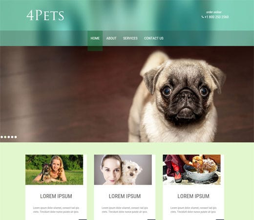 Free website template CSS HTML5 4Pets animals Mobile Website Template