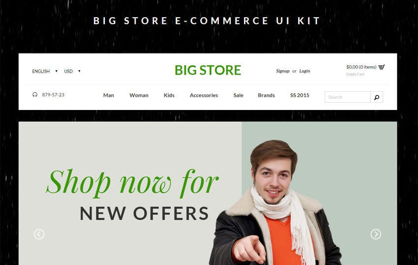 Big Store Ecommerce UI Kit Bootstrap Responsive Web Template Mobile website template Free
