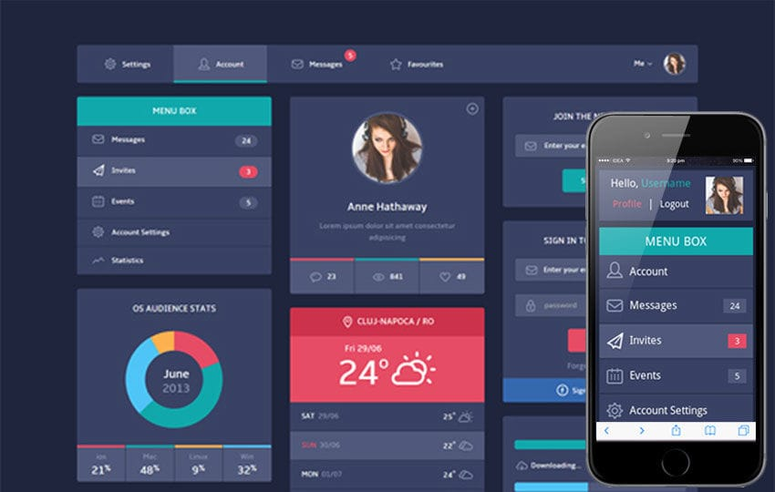 Flat Design UI Components web template by w3layouts