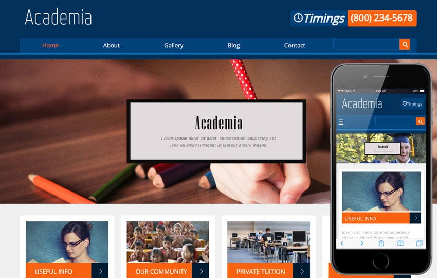 Academia Education Mobile Website Template Mobile website template Free