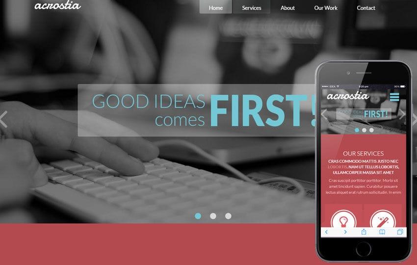 Acrostia Corporate Multipurpose Flat Bootstrap Responsive Web Template Mobile website template Free