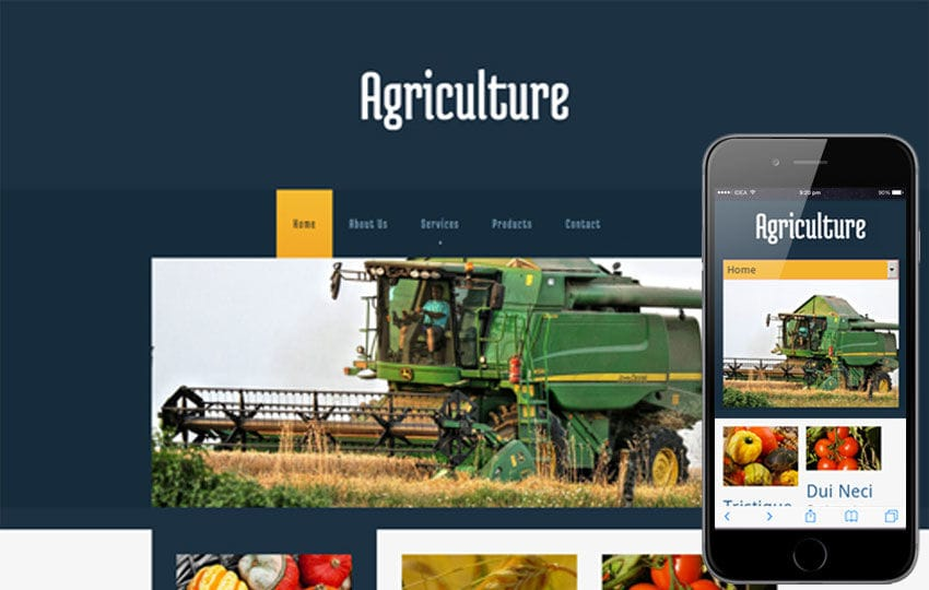 Agriculture Mobile Website Template Mobile website template Free