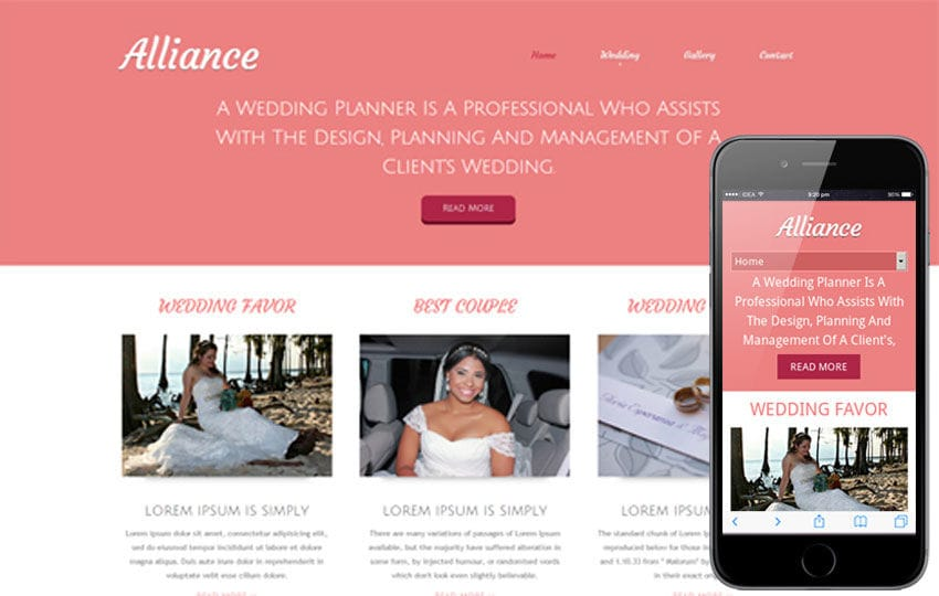 Alliance a wedding planner mobile website template by w3layouts alliance a wedding planner mobile website template junglespirit