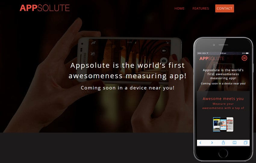 Appsolute a Mobile App based Flat Bootstrap Responsive Web Template Mobile website template Free