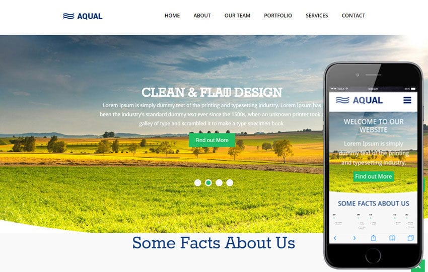Aqual Singlepage Flat Responsive Web Template