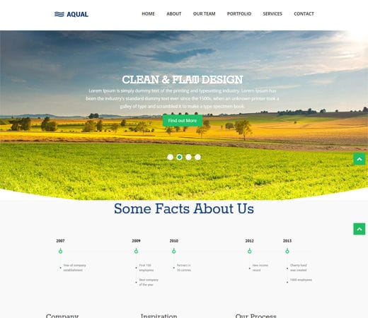 Free website template CSS HTML5 Aqual Singlepage Flat Responsive Web Template