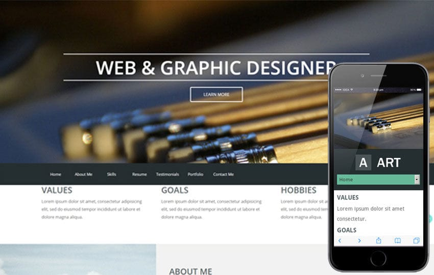 Art a Portfolio Singlepage Flat Responsive web template Mobile website template Free