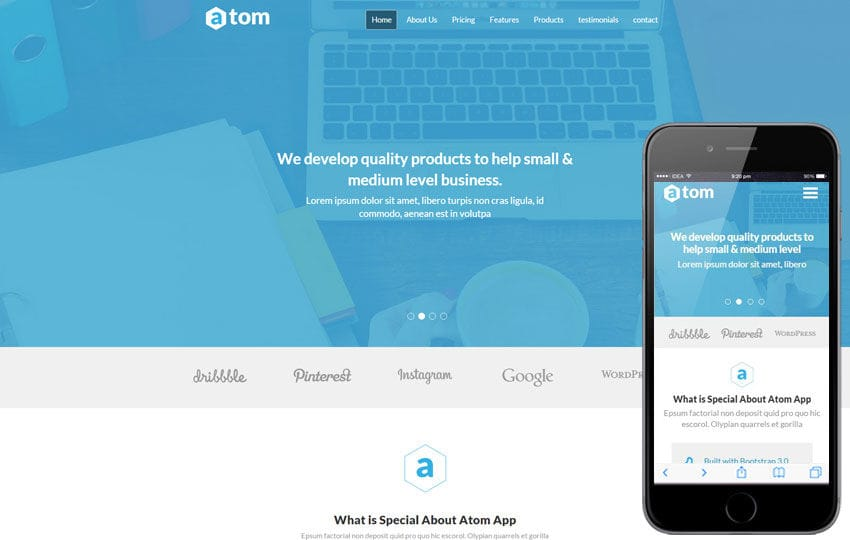 Atom a Corporate Multipurpose Flat Bootstrap Responsive Web Template Mobile website template Free