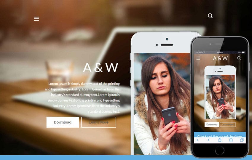 A&W a App Landing Page Bootstrap Responsive web template Mobile website template Free