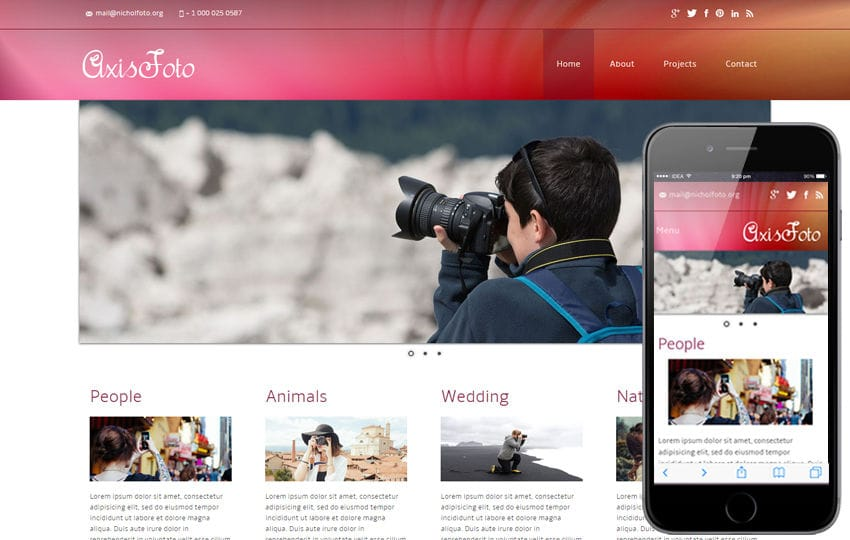 axisfoto a photo gallery mobile website template by w3layouts