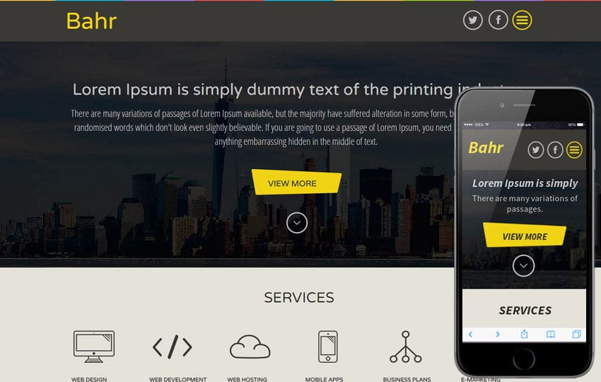 Bahr a Corporate Business Flat Bootstrap Responsive web template Mobile website template Free