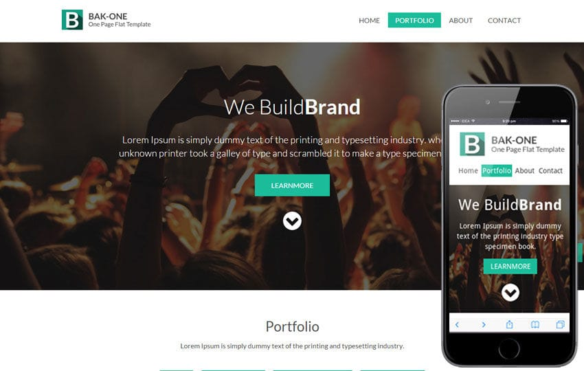 Bak One A Single Page Flat Corporate Responsive Website Template