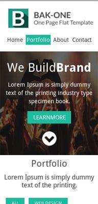 Mobile website Template Bak One- A single page Flat Corporate Responsive website template