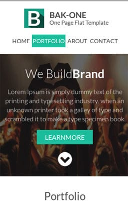 Free Iphone Smartphone web template Bak One- A single page Flat Corporate Responsive website template