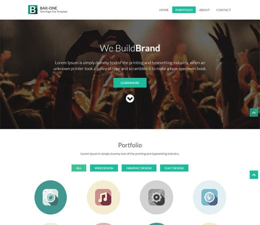 Free website template CSS HTML5 Bak One- A single page Flat Corporate Responsive website template