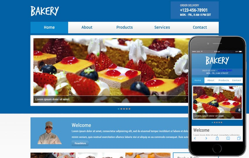 New Bakery web template and mobile website template for bakeries Mobile website template Free