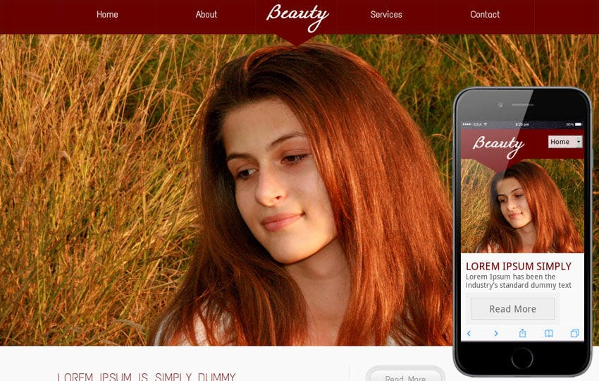 Beauty Parlour Mobile Website Template Mobile website template Free