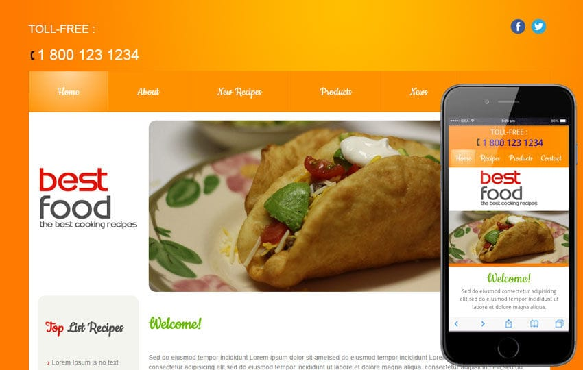 Best Food and drinks Mobile Website Template Mobile website template Free