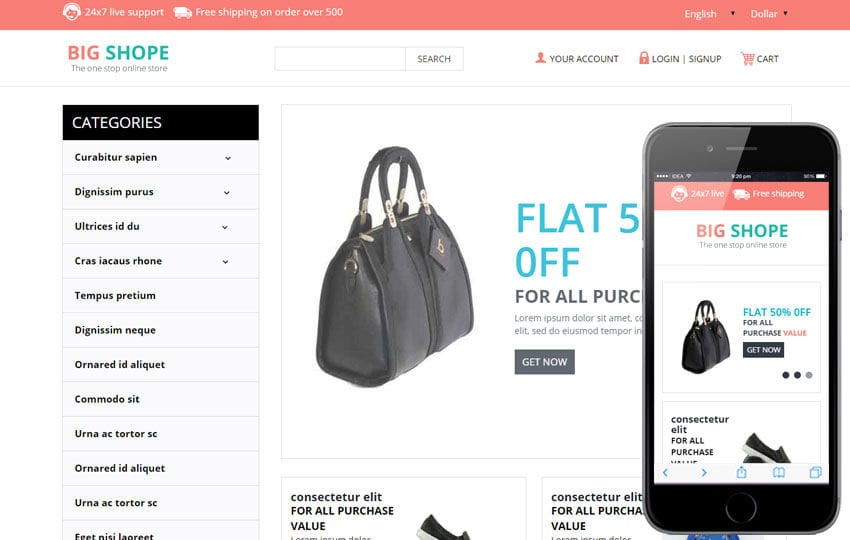 Big shope a flat ecommerce bootstrap responsive web template for Ecommerce privacy policy template