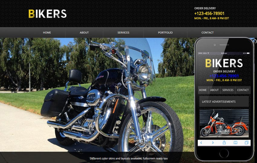 Bikers web and Mobile Template for free Mobile website template Free