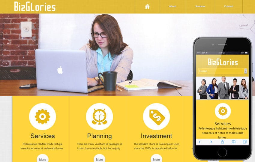 Biz Glories web and mobile website template for free Mobile website template Free