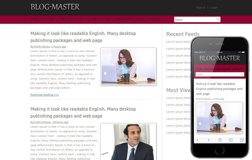 Free Blog Master blogging website template and mobile webtemplate by ...