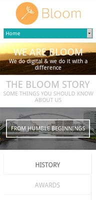 Mobile website Template Bloom portfolio Single page Responsive website template