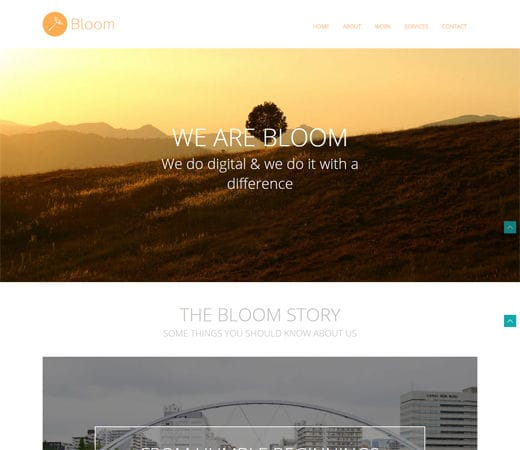 Free website template CSS HTML5 Bloom portfolio Single page Responsive website template