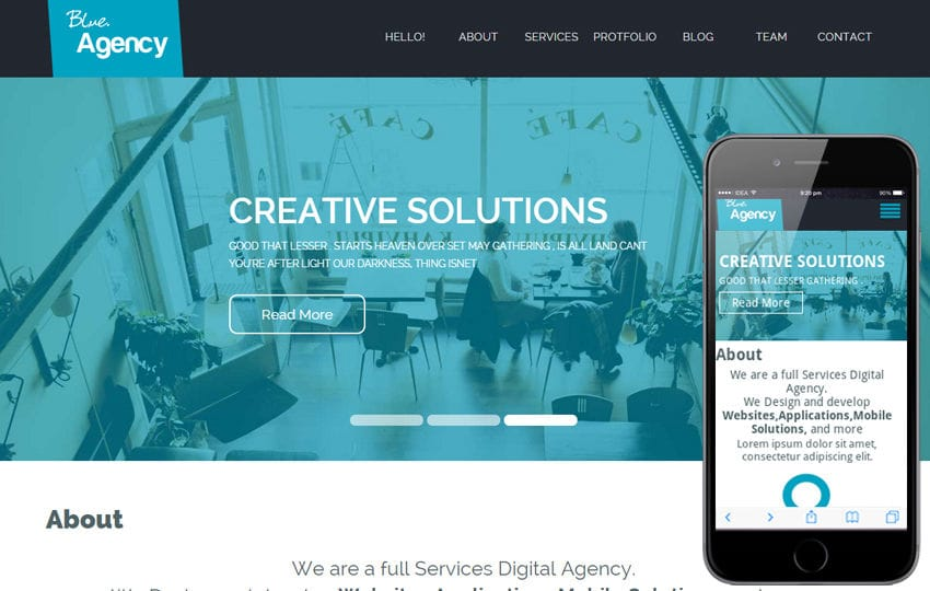 Blue Agency a Corporate Flat Bootstrap Responsive web template Mobile website template Free