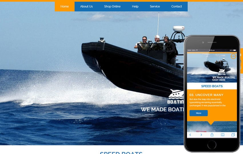 Boating Flat Ecommerce Bootstrap Responsive Web Template Mobile website template Free