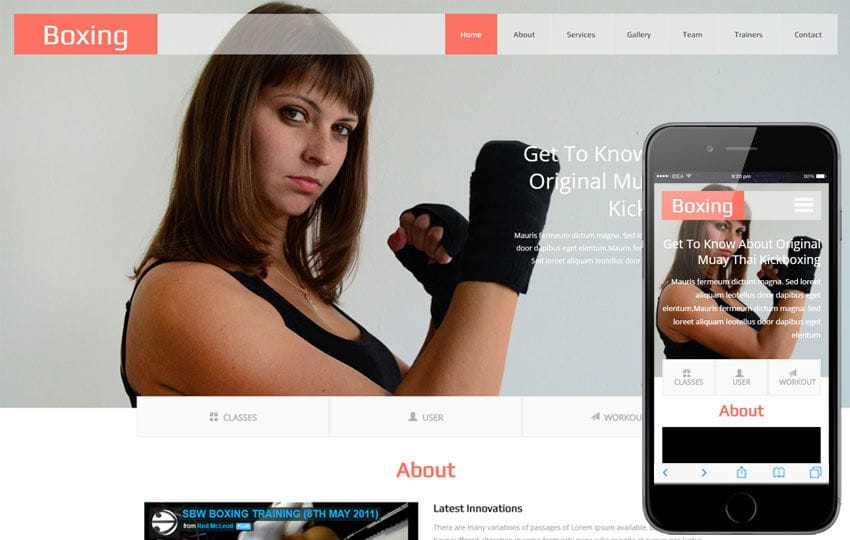 Boxing a Sports Category Flat Bootstrap Responsive Web Template Mobile website template Free