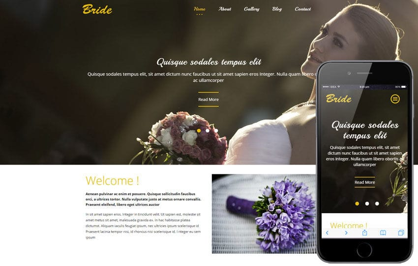 Bride a flat wedding planner bootstrap responsive web template junglespirit Image collections