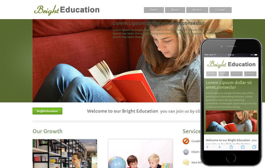 Bright Education Web template and mobile website template for educational institutions Mobile website template Free