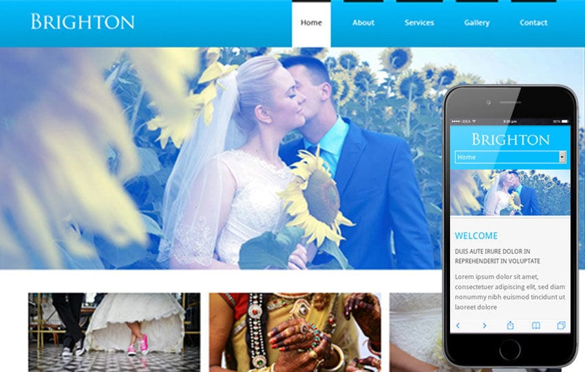 Brighton – A wedding planner Mobile Website Template