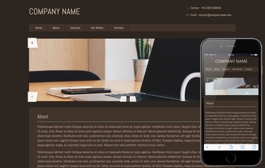 Brownie – basic website and mobile Template for free Mobile website template Free