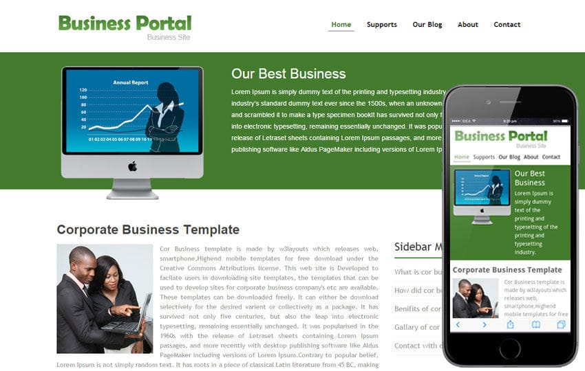 Business portal website template and Mobile Template for Free Mobile website template Free