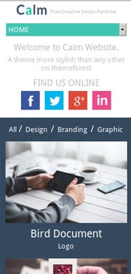 Mobile website Template Calm a Flat Personal Portfolio & Blog  Responsive Web Template