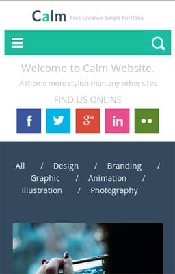 Free Iphone Smartphone web template Calm a Flat Personal Portfolio & Blog  Responsive Web Template