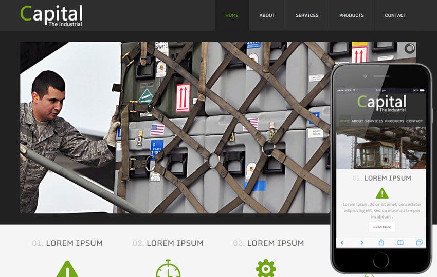 Capital a Industrial Mobile Website Template Mobile website template Free