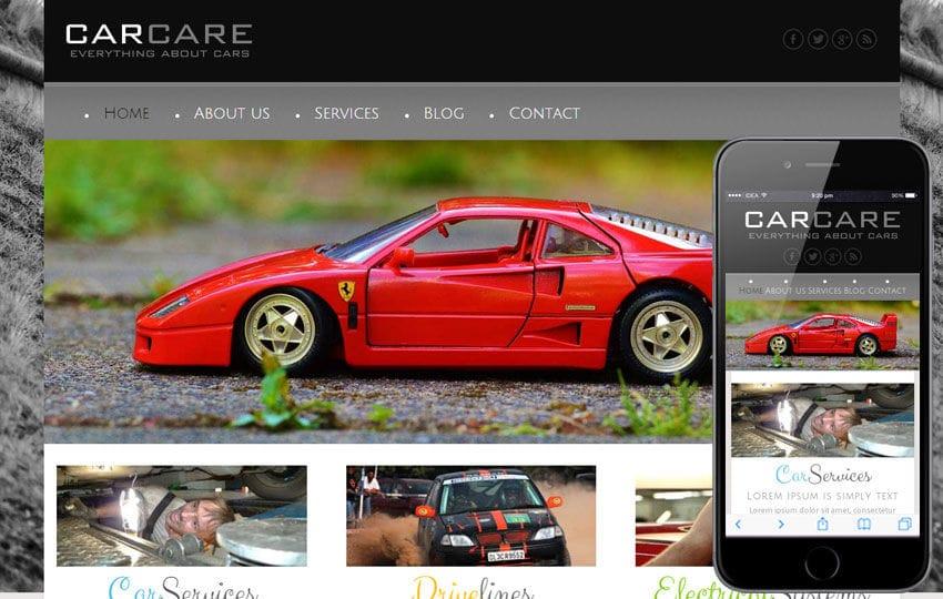 Car Care a Automobile Mobile Website Template Mobile website template Free