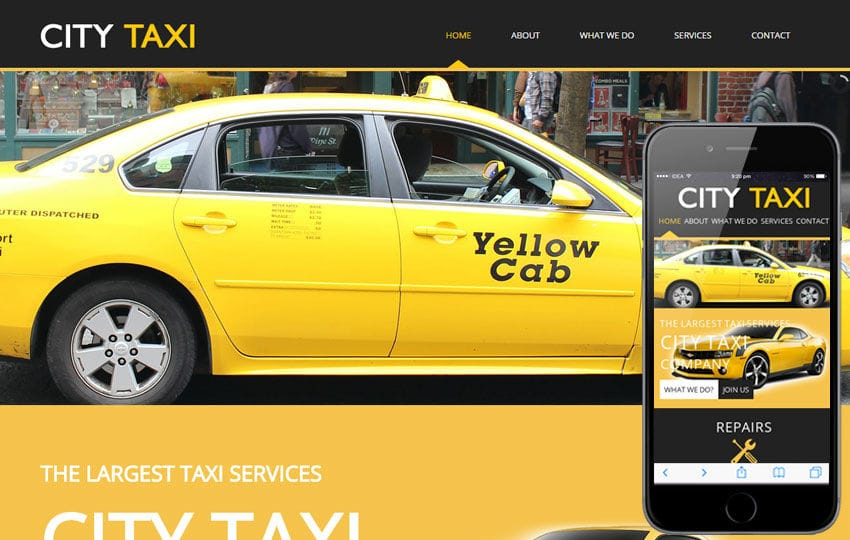 City Taxi a taxi services Mobile Website Template Mobile website template Free
