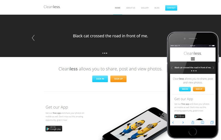 Cleanless a landingpage Multipurpose Flat Bootstrap Responsive Web Template Mobile website template Free