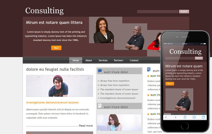 Free Consulting webtemplate and mobile webtemplate for corporate businesses Mobile website template Free